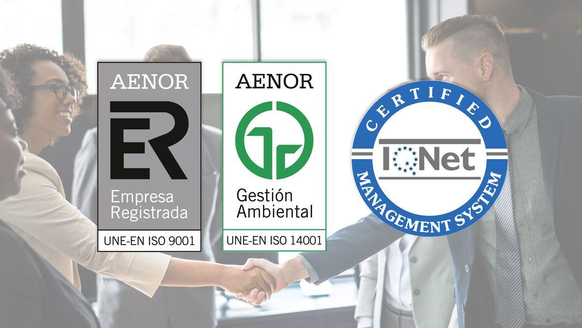 Primera consultora especializada en ACV y Ecodiseño certificada por AENOR en actualizarse a los nuevos requisitos de las normas ISO 9001:2015 e ISO 14001:2015.